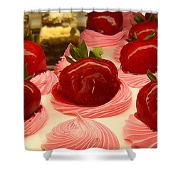 Strawberry Mousse Shower Curtain by Amy Vangsgard