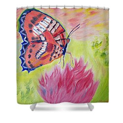 Shower Curtain featuring the painting Strawberry Parfait by Meryl Goudey