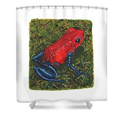 Strawberry Poison Dart Frog Shower Curtain by Cindy Hitchcock