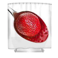 Strawberry Puddle Shower Curtain by Dee Cresswell