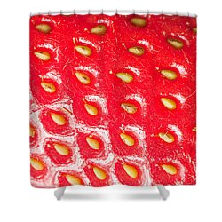 Strawberry Texture Shower Curtain by Sharon Dominick