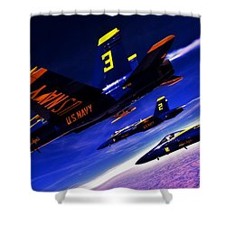 Streaking Blues Shower Curtain by Benjamin Yeager