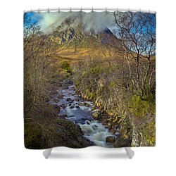 Stream Below Buachaille Etive Mor Shower Curtain by Gary Eason