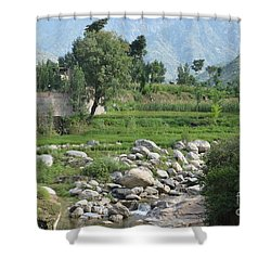 Stream Trees House And Mountains Swat Valley Pakistan Shower Curtain by Imran Ahmed