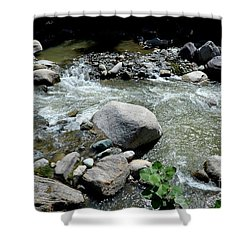 Shower Curtain featuring the photograph Stream Water Foams And Rushes Past Boulders by Imran Ahmed