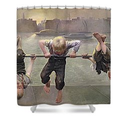 Street Arabs At Play Shower Curtain by Dorothy Stanley
