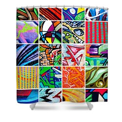 Street Art Patchwork Shower Curtain by Art Block Collections
