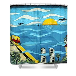 Street Art Valparaiso Chile 13 Shower Curtain by Kurt Van Wagner