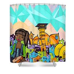 Street Art Valparaiso Chile 18 Shower Curtain by Kurt Van Wagner