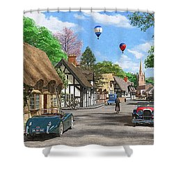 Street Cottage Lane Shower Curtain by Dominic Davison