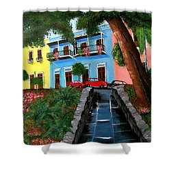 Street Hill In Old San Juan Shower Curtain
