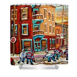 Street Hockey Practice Wilensky's Diner Montreal Winter Street Scenes Paintings Carole Spandau Shower Curtain by Carole Spandau