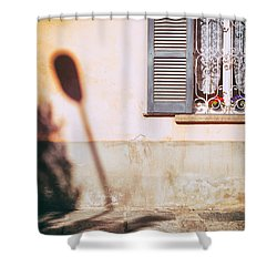 Shower Curtain featuring the photograph Street Lamp Shadow And Window by Silvia Ganora
