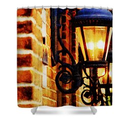 Street Lamps In Olde Town Shower Curtain by Michelle Calkins