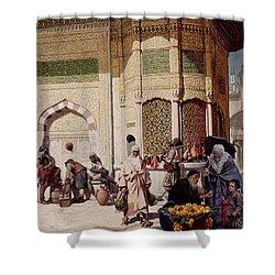 Street Merchant In Istanbul Shower Curtain by Hippolyte Berteaux