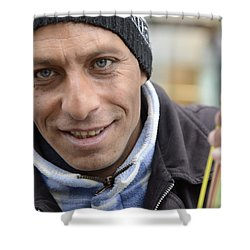 Shower Curtain featuring the photograph Street Musician - The Gypsy Bassist 1 by Teo SITCHET-KANDA