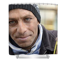 Shower Curtain featuring the photograph Street Musician - The Gypsy Bassist 2 by Teo SITCHET-KANDA