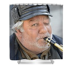 Shower Curtain featuring the photograph Street Musician - The Gypsy Saxophonist 1 by Teo SITCHET-KANDA