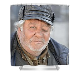 Shower Curtain featuring the photograph Street Musician - The Gypsy Saxophonist 2 by Teo SITCHET-KANDA