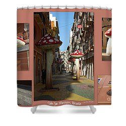 Street Of Giant Mushrooms Shower Curtain
