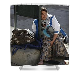 Shower Curtain featuring the photograph Street People - A Touch Of Humanity 10 by Teo SITCHET-KANDA