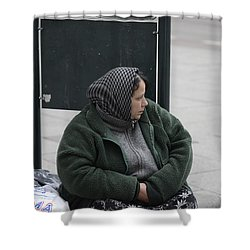Shower Curtain featuring the photograph Street People - A Touch Of Humanity 9 by Teo SITCHET-KANDA