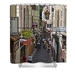 Shower Curtain featuring the photograph Street Scene In Antibes by Allen Sheffield