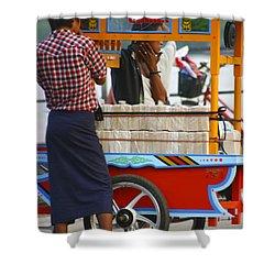 Street Seller At The Foreshore Of The Yangon River Yangon Myanmar Shower Curtain
