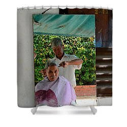 Street Side Barber Cuts Client Hair Singapore Shower Curtain by Imran Ahmed