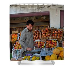 Street Side Fruit Vendor Islamabad Pakistan Shower Curtain by Imran Ahmed
