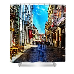 Streets Of Lisbon 1 Shower Curtain by Mary Machare