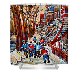 Streets Of Verdun Hockey Art Montreal Street Scene With Outdoor Winding Staircases Shower Curtain by Carole Spandau