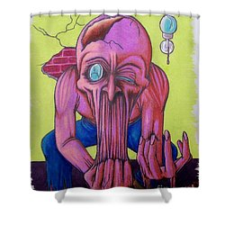 Shower Curtain featuring the drawing Stretching The Truth by Michael  TMAD Finney