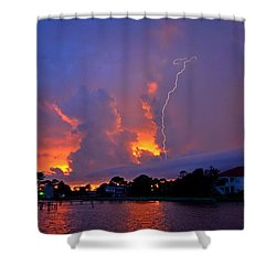 Shower Curtain featuring the photograph Strike Up The Middle At Sunset by Jeff at JSJ Photography