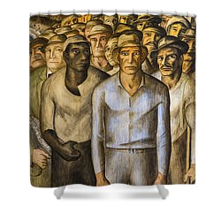 Striking Miners Mural In Coit Tower Shower Curtain by Adam Romanowicz