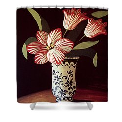 Striped Tulip  Shower Curtain by Dory Coffee