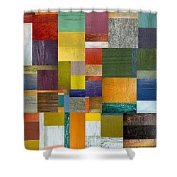 Strips And Pieces V Shower Curtain by Michelle Calkins