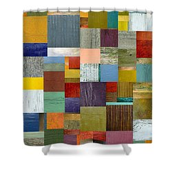 Strips And Pieces Vl Shower Curtain by Michelle Calkins