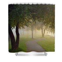Stroll In The Fog Shower Curtain by Terri Gostola