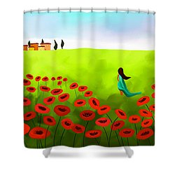 Strolling Among The Red Poppies Shower Curtain