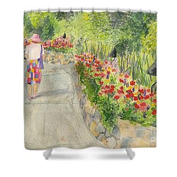 Shower Curtain featuring the painting Strolling Butchart Gardens by Vicki  Housel