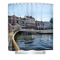 Strolling On The Boardwalk At Disney World Shower Curtain