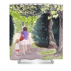 Shower Curtain featuring the painting Strolling With Mom by Carol Flagg
