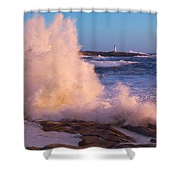 Strong Winds Blow Waves Onto Rocks Shower Curtain by Thomas Kitchin & Victoria Hurst