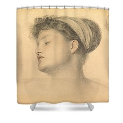 Study For Girl With Doves Shower Curtain by Anthony Frederick Augustus Sandys