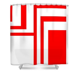 Study In White And Red Shower Curtain by Cletis Stump