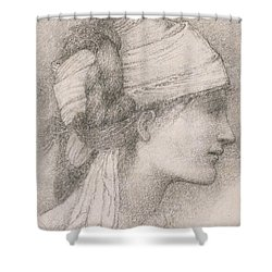 Study Of A Female Head To The Right Shower Curtain by Sir Edward Coley Burne-Jones