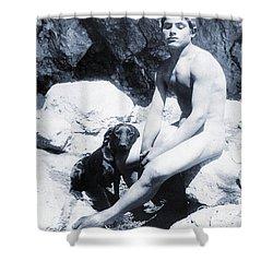 Study Of A Nude Boy With Dog Shower Curtain by Wilhelm von Gloeden