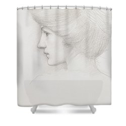 Study Of A Woman's Head Profile To Left Shower Curtain by Sir Edward Coley Burne-Jones