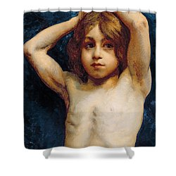 Study Of A Young Boy Shower Curtain by William John Wainwright